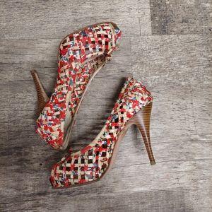 Aldo Tan Woven Floral Open Toe Heels
